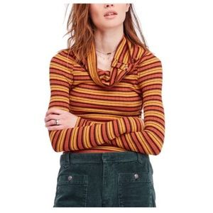Free People Long Sleeve Striped Cowl Neck Top